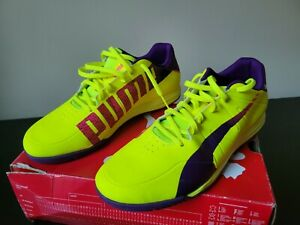 New/Defects Puma Mens Evo Speed Star Neon Yellow Indoor Soccer Shoes