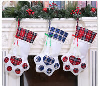 Christmas Gift Bags Pet Dog Cat Paw Stocking Socks Plaid Xmas Tree Ornaments Red