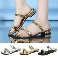 Women's Ladies Summer Crystal Flat Beach Sandals Roman Shoes Slippers