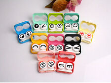 Hot sale Travel Mini Eye Shape Contact Lens Case Box Container Tweezers Set FG