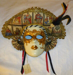 Venetian Otto Bassano Paper Mache Masquerade Face Mask Folk Art Wall Deco Italy