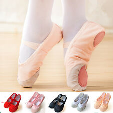 2 pairs Child Adult Ballet Dance Shoes Gymnastics Soft Pointe Canvas Slippers