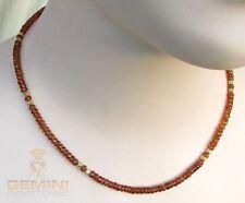 Granat-Kette - braune facettierte Spessartin-Granate Halskette in 44,5 cm Länge