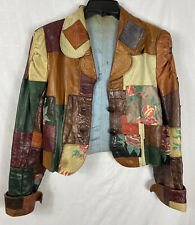 Vintage Hippie Leather Jacket Handmade Patchwork Pieces Button Front