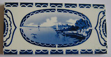 Antique Tile Somag Meissen Porcelain Cobalt & White Ship Scene