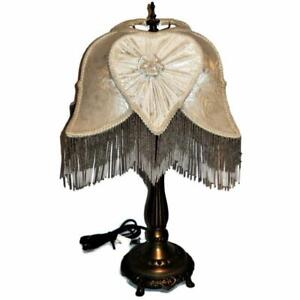 """Victorian Style Dale Tiffany Table Lamp with Beaded Fringed Damask Shade 24"""""""