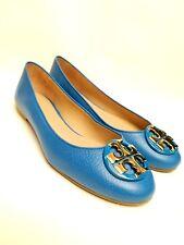 NIB $258 Tory Burch Claire Ballerina Flat Galleria Leather Blue Gold Logo Size 9