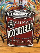 classic GILMORE LION HEAD motor OIL 18 gauge steel die-cut porcelain sign
