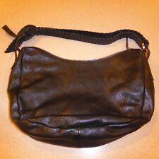 Falor Le Borse Black Hobo Bag Woven Handle Handbag Purse Satchel Leather Italy