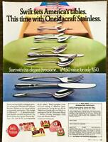 1970 Swift's Premium Meats PRINT AD America's Tables Oneidacraft Stainless Offer