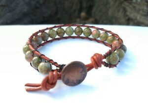 Great Father's day gift Men's / Women's Unakite leather bracelet with Indian