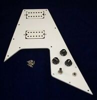 FLYING V LOADED SCRATCHPLATE & PICKUP ASSEMBLY FOR GIBSON ETC/ WHITE 3 PLY