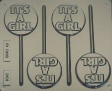 ITS A GIRL CHOCOLATE LOLLIPOP, MOULD, SOAP,CLAY,MOULD / MOULDS 3 CAV