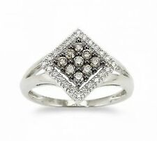 10K White Gold Chocolate Brown Diamond Ring .25ct White Diamond Accents Cluster
