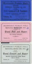 MURRABIT Victoria Australia 1913 group of 3 tickets for Concert & Grand Balls