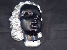 Vtg 1920s 1930s Art Deco Abco? Backer? Chalkware Flapper Girl Head Wall Hanging