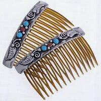 Native American Hair Combs  Set by Navajo T. Ahastee  w/ Turquoise Coral Silver