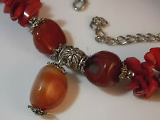 RED Bamboo Coral Nugget Carnelian Stone Bead Silver Necklace Extender 10b 13