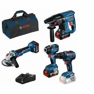 Bosch 18v Cordless 4 Piece Tool Set 3 Batteries Charger + Bag 0615990M2B