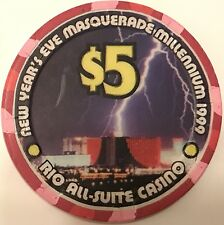 $5 Rio Casino Chip - Millennium 2000 Las Vegas -Poker, Roulette, Blackjack- RARE