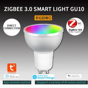 Tuya Zigbee 3.0 Gu10 Smart LED Light Bulb 5W RGBCW Voice Control For Alexa Home