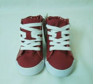 Toddler Girl Cat & Jack Red/Hardy High Top Side Zipper Tennis Shoes Size 6- NWT