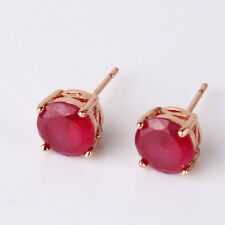 18k rose gold filled round cut Birthstone Red Ruby Wedding pierced stud earring