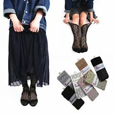 Flower Fashion Breathable Hollow Stockings Lace Socks Sheer Mesh Transparent
