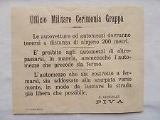 VOLANTINO AVVISO UFFICIO MILITARE CIMITERO DEL GRAPPA WWI PRIMA GUERRA BASSANO