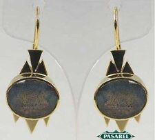 New Pair of 14k Yellow Gold Labradorite Earrings
