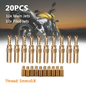 20X Carburetor Main Jets w/ Slow Pilot Jets For Motorcycle Carb 5mm x0.8 Thread