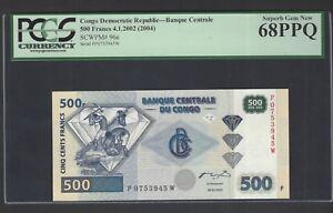 Congo Democratic 500 Francs 4-1-2002(2004) P96a Uncirculated Graded 68