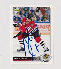 92/93 Upper Deck Michel Goulet Chicago Blackhawks Autographed Hockey Card