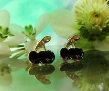 PENDIENTES AROS Cereza negro esmaltado bañado en oro CEREZAS