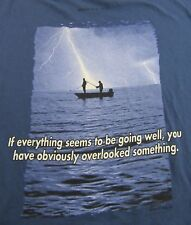 MOUNTAIN LIFE Fishing During Lightning Storm Blue T Shirt Size XL