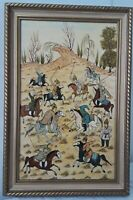 Vintage Persian Polo Match Oil Painting on CAMEL BONE