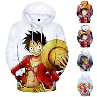 ONE PIECE Mens Anime 3D Print Hoodie Pullover Sweather Cotton Crew Neck Luffy