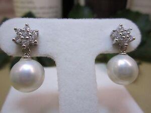 NEW - .925 Silver Inlay Zircon Pearl Earrings