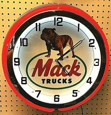 "19"" MACK Truck Bulldog Sign Double Neon Clock"