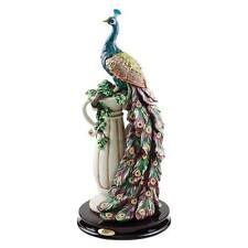 "The Peacock's Sanctuary Indoor Outdoor Design Toscano 17"" Hand Painted Sculpture"