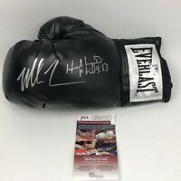 Autographed/Signed MIKE TYSON & EVANDER HOLYFIELD Black Boxing Glove JSA COA