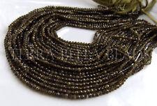 "12.5"" strand dark OLIVE BROWN MOONSTONE faceted gem stone rondelle beads 3mm"