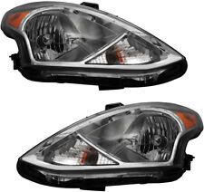 Headlights Headlight Assembly w/Bulb NEW Pair Set For 15-16 Nissan Versa