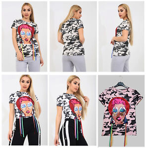 Womens Ladies Ice-Cream Girl Camouflage Print Tassel Detailing T-Shirt Tee Top