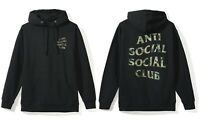 DS Anti Social Social Club ASSC woodland camo logo Woody Black Hoodie in hand