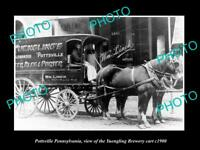 OLD POSTCARD SIZE PHOTO OF POTTSVILLE PENNSYLVANIA YUENGING BREWERY CART c1900