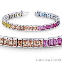 Radiant Cut CZ Crystal Rainbow .925 Sterling Silver Rhodium 6mm Tennis Bracelet