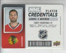 17/18 UD MVP Chicago Blackhawks Corey Crawford NHL Credentials L1 card #NHL-CC