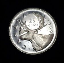 1969 CANADA 25 CENTS CIRCULATED COIN
