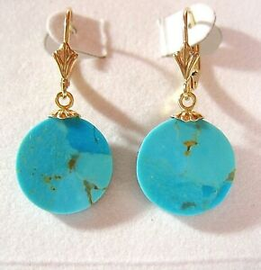 Solid 14KT Gold Natural Arizona Turquoise  14 mm Round Leverback Earrings